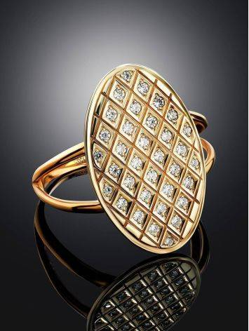 Crystal Encrusted Gold Ring, Ring Size: 11.5 / 21, image , picture 2