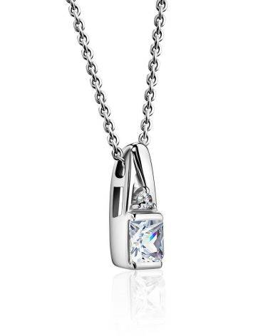 Silver Necklace With White Crystal Pendant, Length: 45, image , picture 3