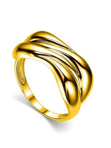 Bold Gold Plated Ring, Ring Size: 6 / 16.5, image