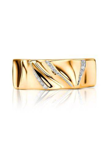 Bright Gold Plated Band Ring With Crystals, Ring Size: 6.5 / 17, image , picture 3