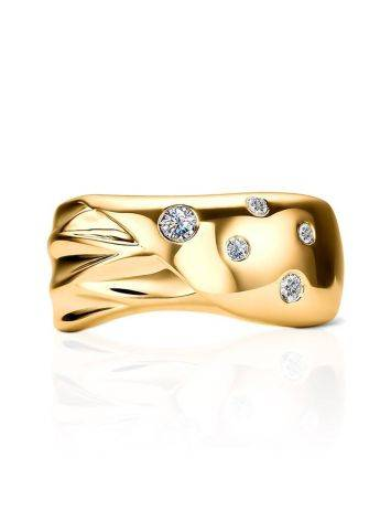 Elegant Gold Plated Band Ring With Crystals, Ring Size: 6 / 16.5, image , picture 3