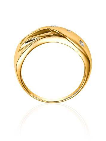 Elegant Gold Plated Band Ring With Crystals, Ring Size: 6 / 16.5, image , picture 4