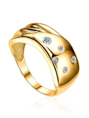 Elegant Gold Plated Band Ring With Crystals, Ring Size: 6 / 16.5, image