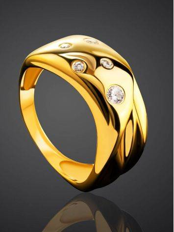 Elegant Gold Plated Band Ring With Crystals, Ring Size: 6 / 16.5, image , picture 2