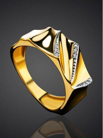 Bright Gold Plated Band Ring With Crystals, Ring Size: 6.5 / 17, image , picture 2