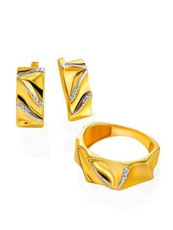 Bright Gold Plated Band Ring With Crystals, Ring Size: 6.5 / 17, image , picture 4