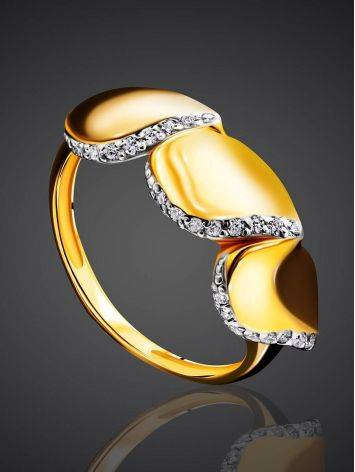 Classy Gold Plated Ring With Crystals, Ring Size: 6 / 16.5, image , picture 2