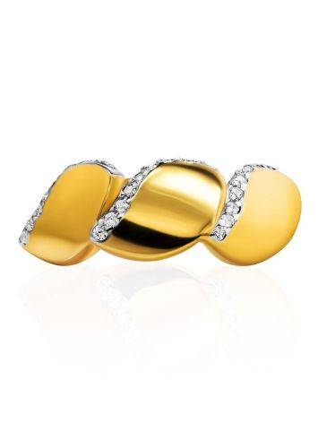 Classy Gold Plated Ring With Crystals, Ring Size: 6 / 16.5, image , picture 3