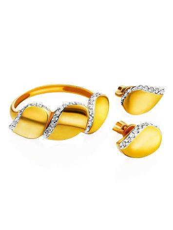 Classy Gold Plated Ring With Crystals, Ring Size: 6 / 16.5, image , picture 4