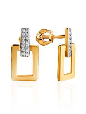 Stylish Geometric Gold Plated Earrings With Crystals, image