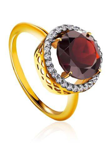 Amazing Garnet Ring With Crystals, Ring Size: 6 / 16.5, image