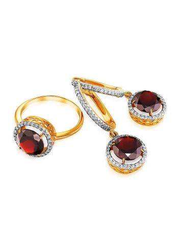 Amazing Garnet Ring With Crystals, Ring Size: 6 / 16.5, image , picture 4