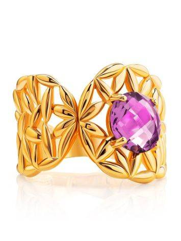 Gold Plated Cocktail Ring With Crystal, Ring Size: 6 / 16.5, image , picture 3