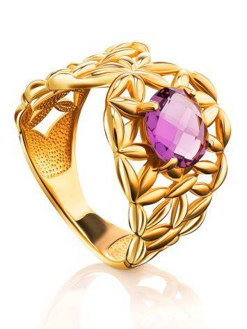 Gold Plated Cocktail Ring With Crystal, Ring Size: 6 / 16.5, image