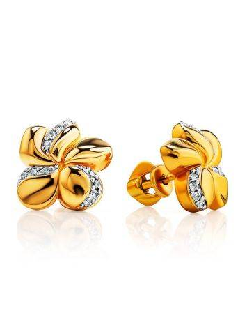 Romantic Gold Plated Earrings With Crystals, image