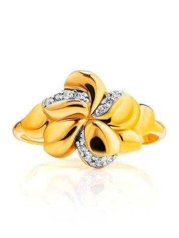 Charming Floral Ring With Crystals, Ring Size: 6 / 16.5, image , picture 2