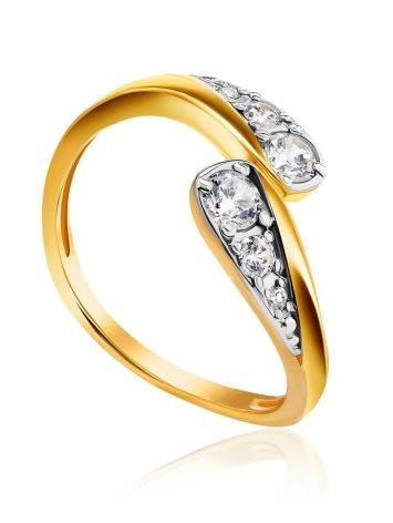 Feminine Open Ring With Crystals, Ring Size: 5.5 / 16, image