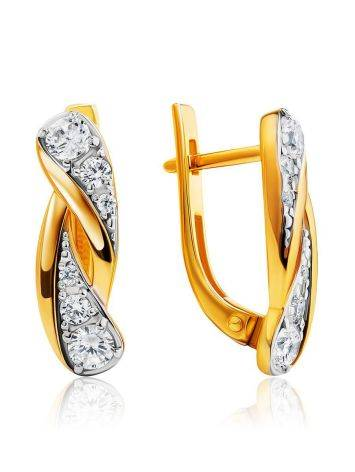 Classy Gold Plated Earrings With Crystals, image