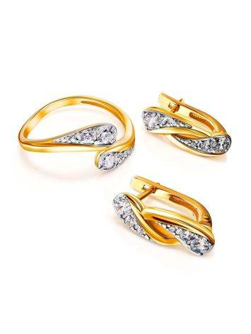 Classy Gold Plated Earrings With Crystals, image , picture 3