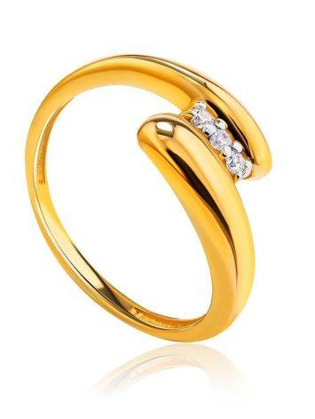 Elegant Gold Plated Ring With Crystals, Ring Size: 6 / 16.5, image