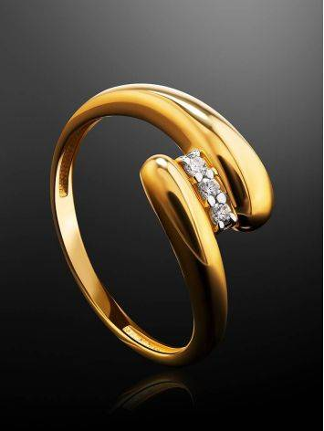Elegant Gold Plated Ring With Crystals, Ring Size: 6 / 16.5, image , picture 2