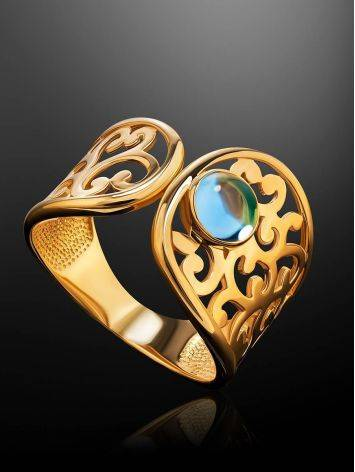 Bold Gold Plated Ring With Blue Crystal, Ring Size: 6 / 16.5, image , picture 2