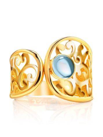 Bold Gold Plated Ring With Blue Crystal, Ring Size: 6 / 16.5, image , picture 3