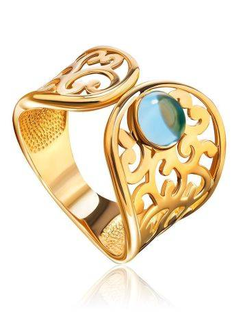 Bold Gold Plated Ring With Blue Crystal, Ring Size: 6 / 16.5, image