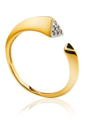 Gold Plated Open Ring With Crystals, Ring Size: 6 / 16.5, image