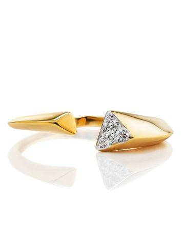 Gold Plated Open Ring With Crystals, Ring Size: 6 / 16.5, image , picture 3