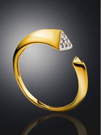 Gold Plated Open Ring With Crystals, Ring Size: 6 / 16.5, image , picture 2