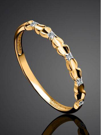 Laconic Gold Plated Ring With Crystals, Ring Size: 6 / 16.5, image , picture 2