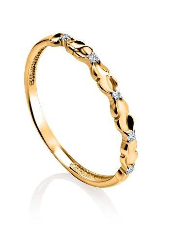 Laconic Gold Plated Ring With Crystals, Ring Size: 6 / 16.5, image