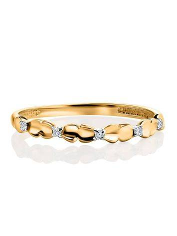 Laconic Gold Plated Ring With Crystals, Ring Size: 6 / 16.5, image , picture 3