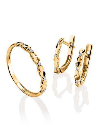 Laconic Gold Plated Ring With Crystals, Ring Size: 6 / 16.5, image , picture 4