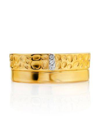 Gold Plated Band Ring With Crystals, Ring Size: 6 / 16.5, image , picture 3