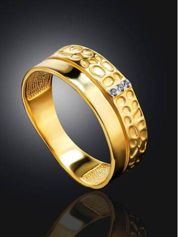 Gold Plated Band Ring With Crystals, Ring Size: 6 / 16.5, image , picture 2