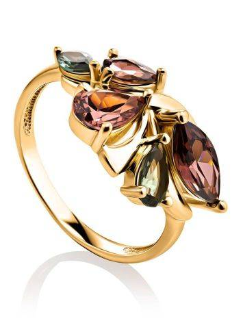 Classy Gold Plated Ring With Crystals, Ring Size: 6 / 16.5, image