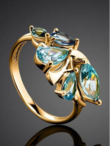 Fabulous Gold Plated Ring With Blue Crystals, Ring Size: 6 / 16.5, image , picture 2