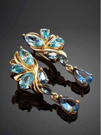 Exquisite Gold Plated Earrings With Blue Crystals, image , picture 2