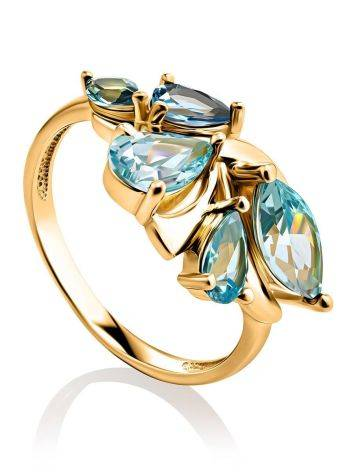 Fabulous Gold Plated Ring With Blue Crystals, Ring Size: 6 / 16.5, image