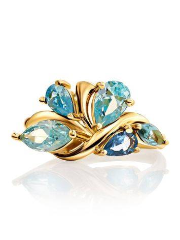 Fabulous Gold Plated Ring With Blue Crystals, Ring Size: 6 / 16.5, image , picture 3