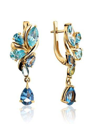 Exquisite Gold Plated Earrings With Blue Crystals, image