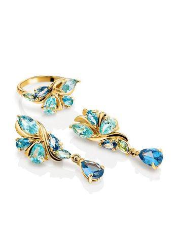 Exquisite Gold Plated Earrings With Blue Crystals, image , picture 3