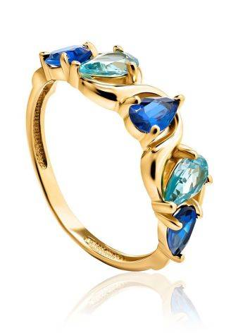 Gold Plated Ring With Blue Crystals, Ring Size: 6 / 16.5, image