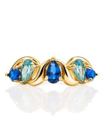 Gold Plated Ring With Blue Crystals, Ring Size: 6 / 16.5, image , picture 3