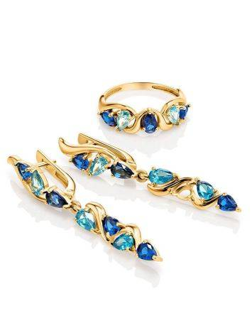 Gold Plated Ring With Blue Crystals, Ring Size: 6 / 16.5, image , picture 4