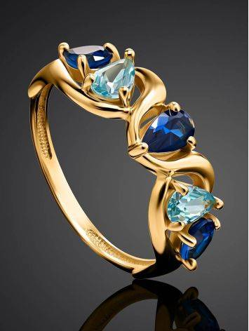 Gold Plated Ring With Blue Crystals, Ring Size: 6 / 16.5, image , picture 2