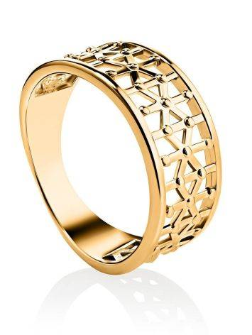 Laced Gold Plated Band Ring, Ring Size: 6.5 / 17, image