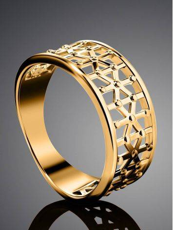 Laced Gold Plated Band Ring, Ring Size: 6.5 / 17, image , picture 2